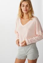 Cotton On - Soft waffle sleep top - crystal pink