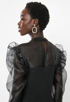 MILLA - Knit organza top - black