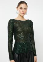 VELVET - Sequin cowl top - green