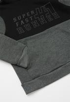 Rebel Republic - Colour block raglan hoodie - charcoal & black