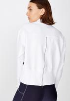 Cotton On - Zip back fleece crew - white