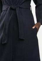 MILLA - Collarless coat - navy