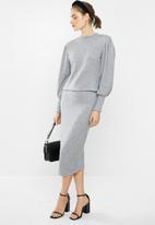 VELVET - Knit bodycon skirt - grey
