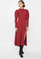 VELVET - Woven midi dress - burgundy