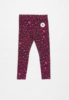 Converse - Converse girls leopard aop legging - rose maroon