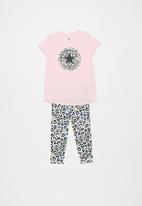 Converse - Converse girls leopard legging set & peplum - pink & white
