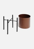Sixth Floor - Table planter - maroon & black