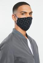 Superbalist - Pattern and plain mask 2 pack - print & black
