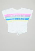 Converse - Converse girls multi colour stripe tie top - white