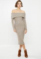 VELVET - Bardot knit dress - oat melange