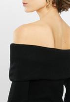 VELVET - Bardot knit dress - black