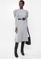 MILLA - Puff sleeve knit dress - grey