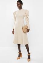 MILLA - Puff sleeve knit dress - beige