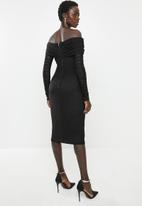 MILLA - Mesh bardot dress - black