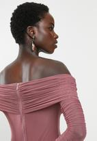 MILLA - Mesh bardot dress - pink