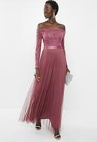 MILLA - Lace bardot maxi dress - rose