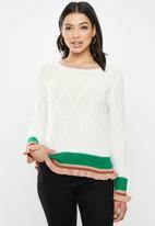 Glamorous - Frill detail jumper - white