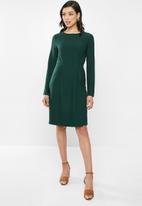 edit - Long sleeve crepe pleat front suit dress - dark green
