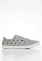 POLO - Logan monogram canvas sneaker - grey