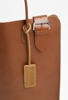 FSP Collection - Raw edge vegtan laptop bag - wheat