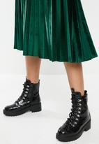 Blake - Velour midi pleated skirt - green