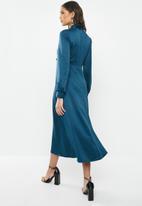 VELVET - Satin kittybow fit and flare dress-ash blue