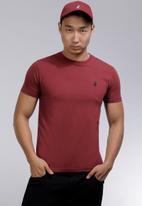 POLO - Lucas plain crew neck T-shirt - burgundy