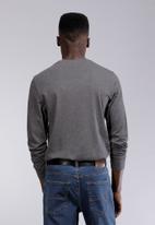POLO - Mens Paul long sleeve crew neck T-shirt - charcoal