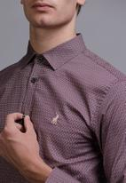 POLO - Mens oscar signature pattern long sleev shirt- burgundy