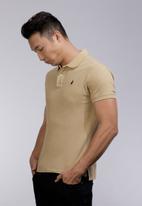 POLO - Carter custom fit short sleeve pique golfer- stone