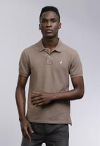 POLO - Mens carter custom fit short sleeve  pique golfer- light brown