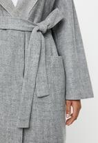 edit Plus - Hooden melton coat (plus) - grey