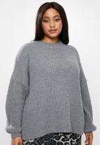 Glamorous - Plus high neck jumper- grey