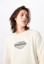 Factorie - Curved long sleeve graphic T-shirt - cream