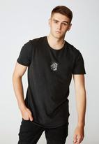 Factorie - Center rose curved graphic T-shirt - washed black