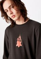 Factorie - Slim long sleeve graphic T-shirt - charcoal