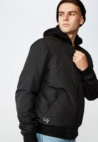 Factorie - Reversible hooded bomber - black