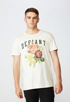 Factorie - Defiant slim graphic T-shirt - cream