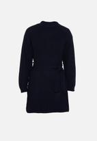 Glamorous - Petite knitted tie waist dress - navy