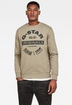 G-Star RAW - Originals logo graphic sweater - khaki