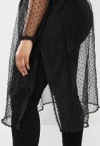 edit Plus - Printed sheer longline shirt - black dobby