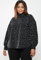 edit Plus - Highneck spot blouse(plus) - black & white