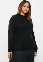 edit Plus - Knitwear basic poloneck(plus) - black