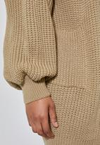 Superbalist - Dropped shoulder ropped knit cardi - stone