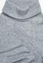 edit - Rolled neck poncho - grey