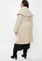 MILLA - Oversized shawl collar melton coat with rolled belt - oatmeal melange