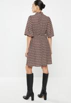 edit - Kitty bow fit & flare dress - brown & black