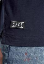 S.P.C.C. - Hudson straight hem logo tee - navy