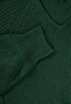edit - Knitwear ribbed balloon sleeve shift dress - green
