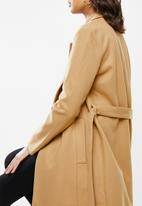 VELVET - Melton long sleeve self belted coat - beige